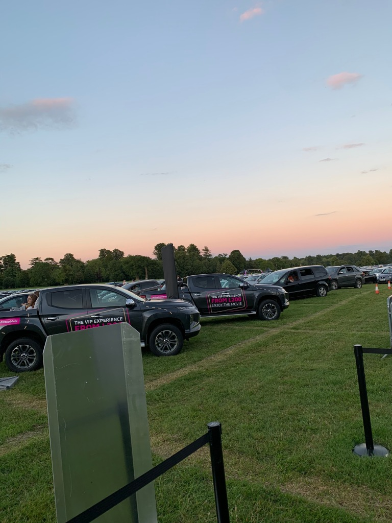 Rows of cars at the Luna Drive-In Cinema
