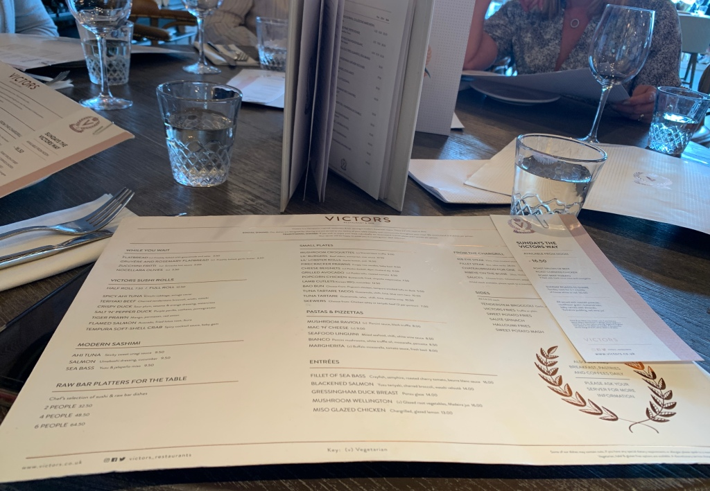 An example of the Victors Oxford menu in June 2019